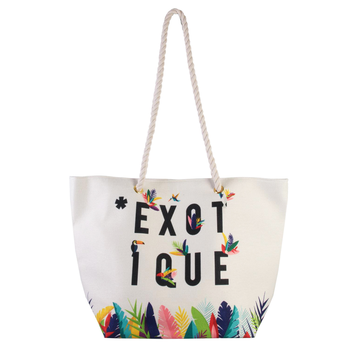 Cabas de plage \'Tropical\' blanc multicolore (exotique) - 45x35x15 cm - [Q7778]