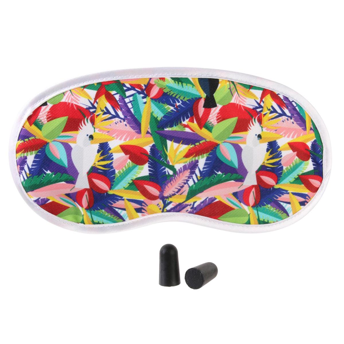 Kit masque & bouchons \'Tropical\' multicolore - 19x95 cm - [Q7790]