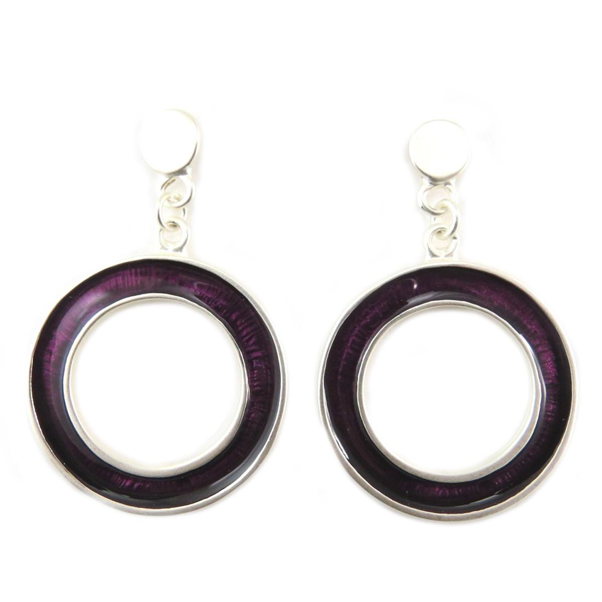 Boucles Créateur \'Nora\' violet argenté - 50x32 mm - [Q7825]