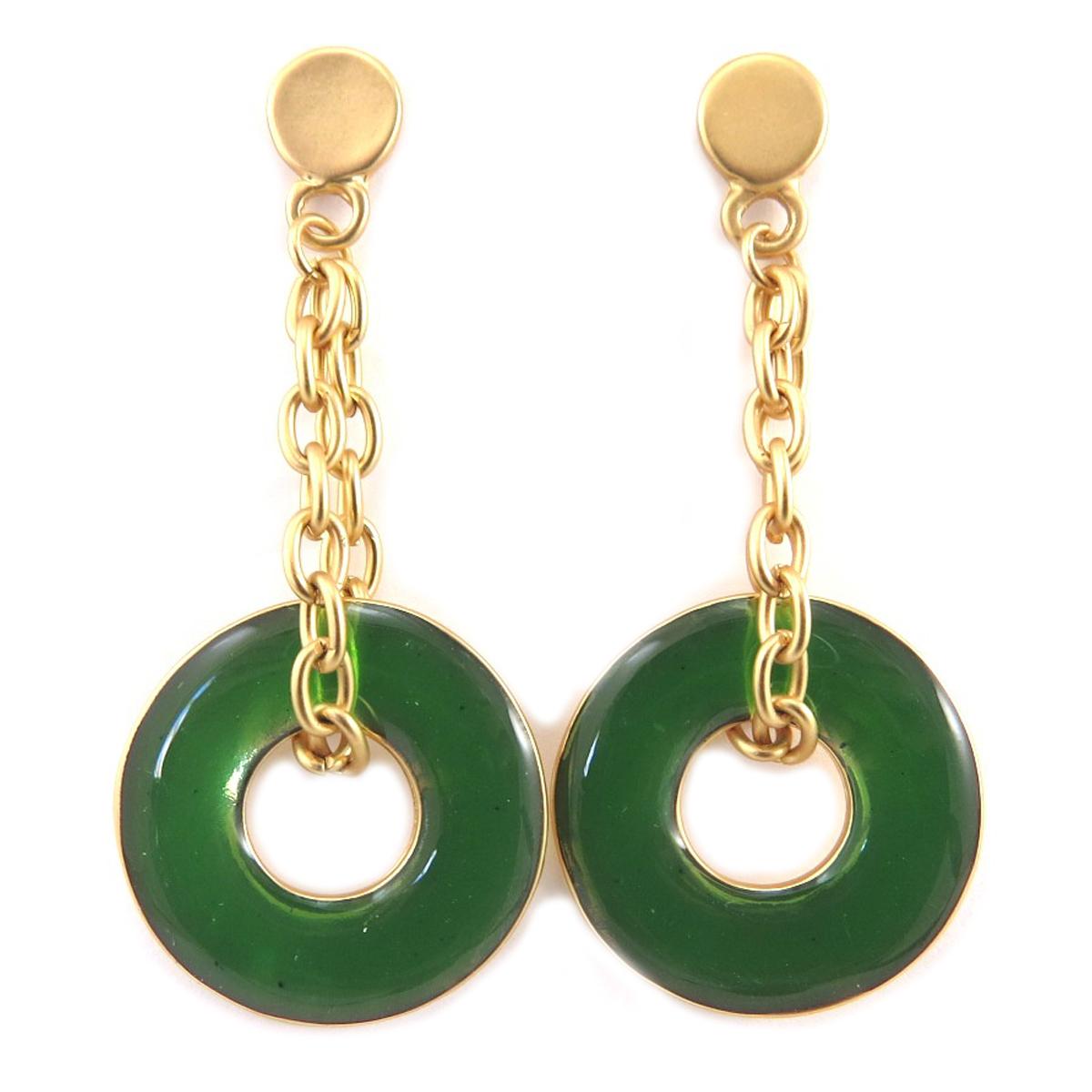 Boucles Créateur \'Nora\' vert doré - 55x25 mm - [Q7832]