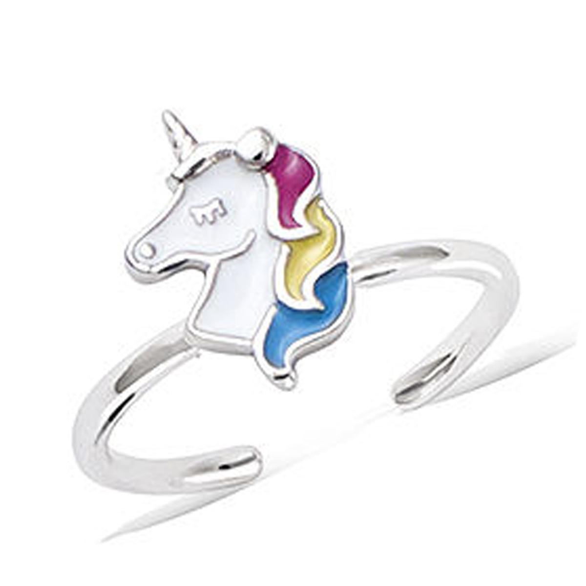 Bague argent enfant \'Licorne My Unicorn\' rose bleu argenté (rhodié) - 9x8 mm - [Q8231]