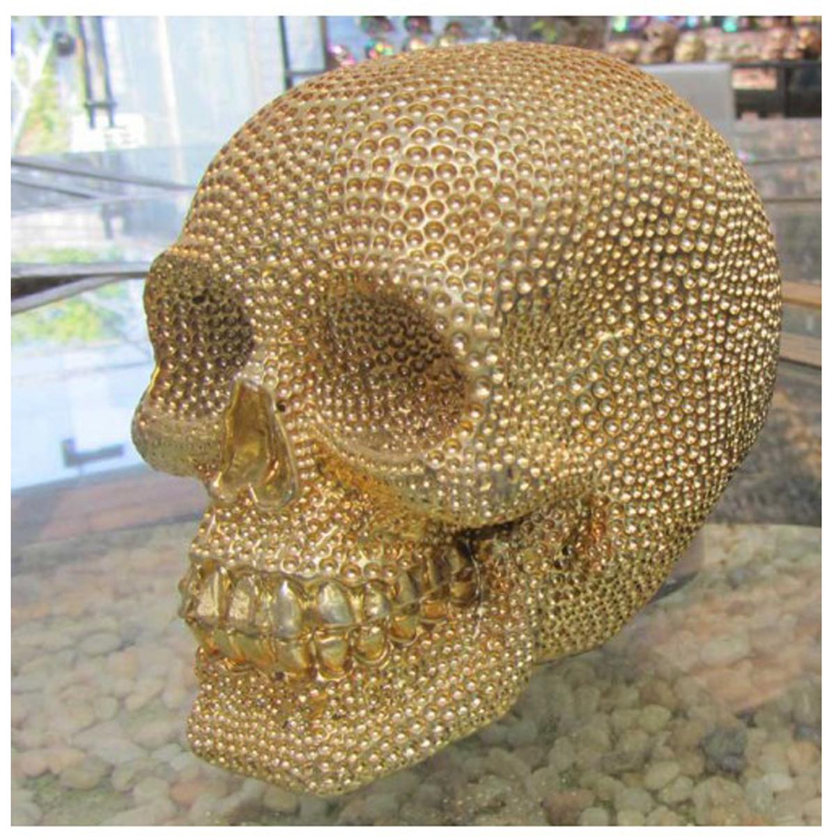 Figurine résine \'Tête de Mort\' doré (diamonds) - 15x135x11 cm - [Q8261]