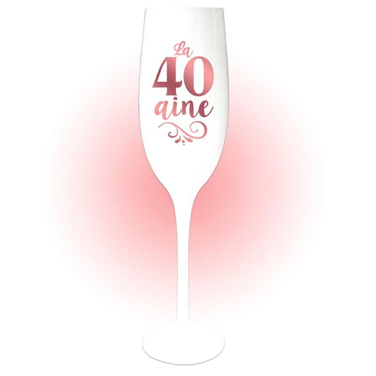 Coupe flute à champagne \'40 aine\' blanc doré rosé (gold pink) - 24x5 cm - [Q8397]