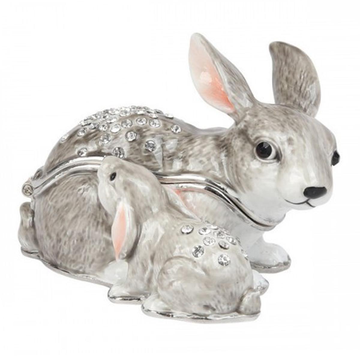 Coffret à Bijoux \'Famille Lapins\' gris - 6x7 cm - [Q8674]