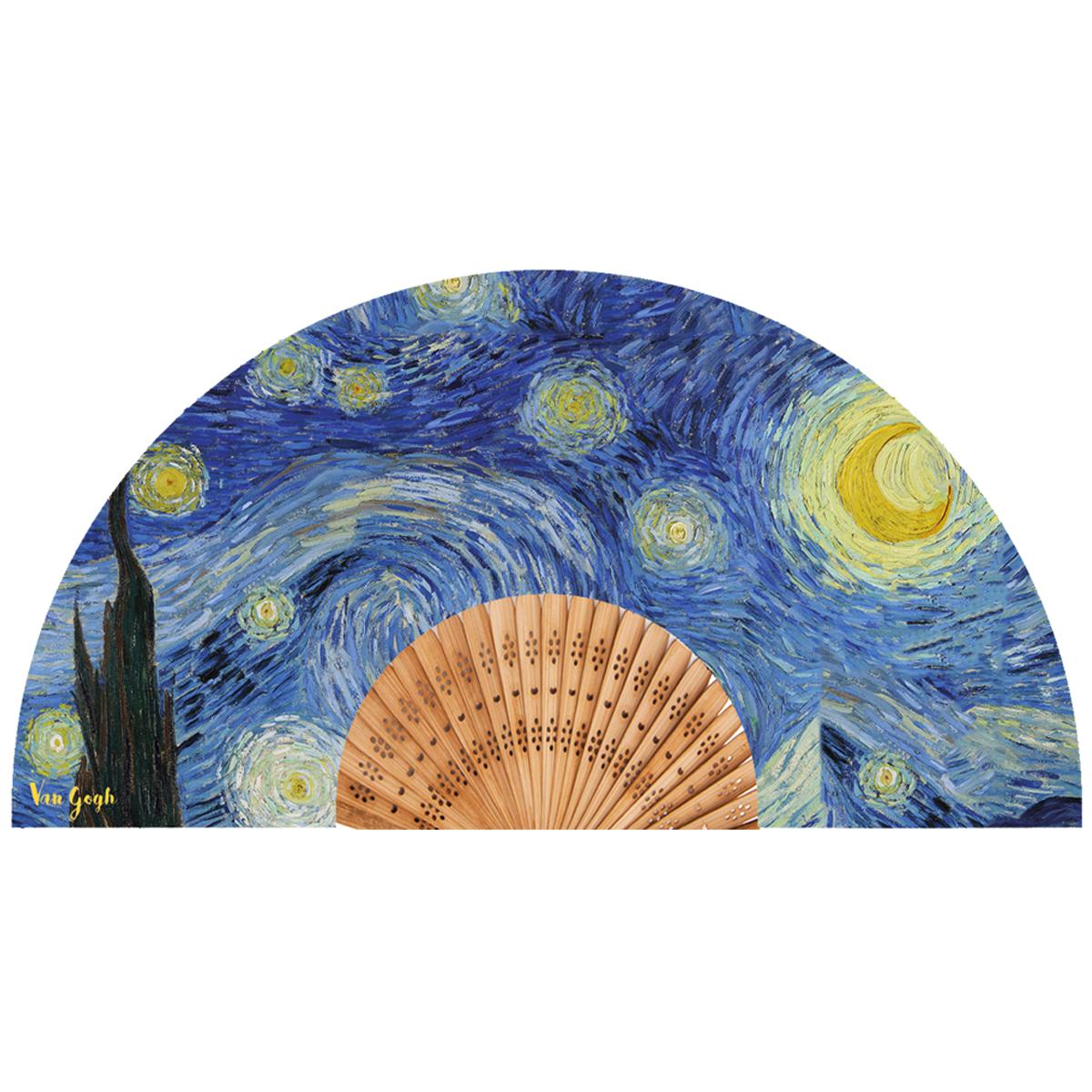 Eventail créateur \'Vincent Van Gogh\' (La Nuit Etoilée) - ouvert 37x21 cm - [Q9274]