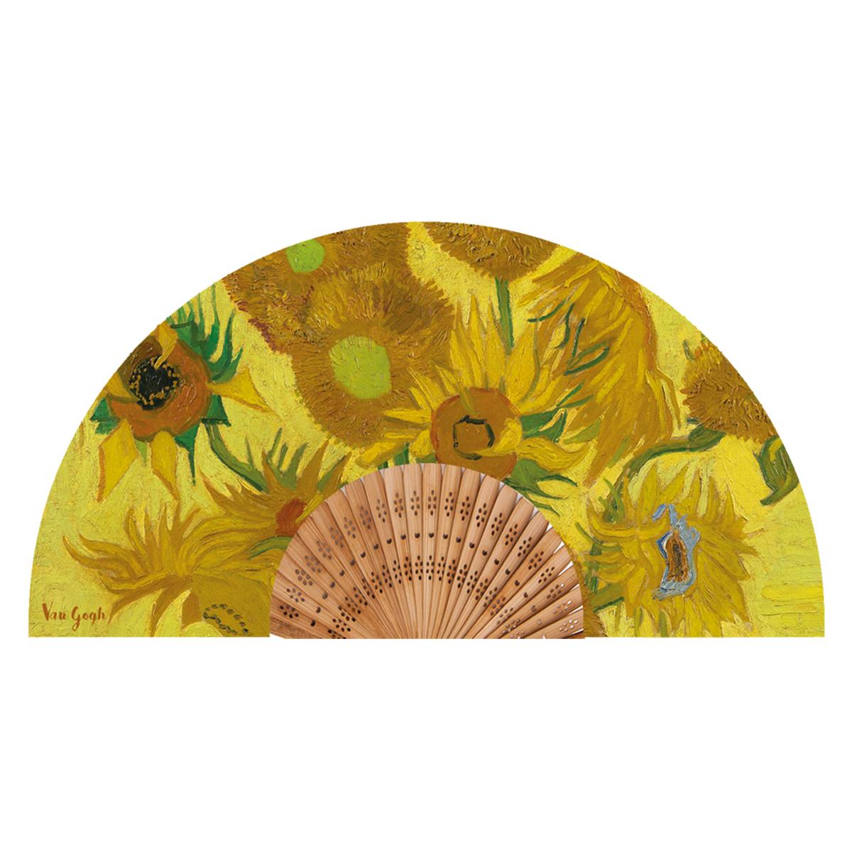 Eventail créateur \'Vincent Van Gogh\' (Les Tournesols) - ouvert 37x21 cm - [Q9276]