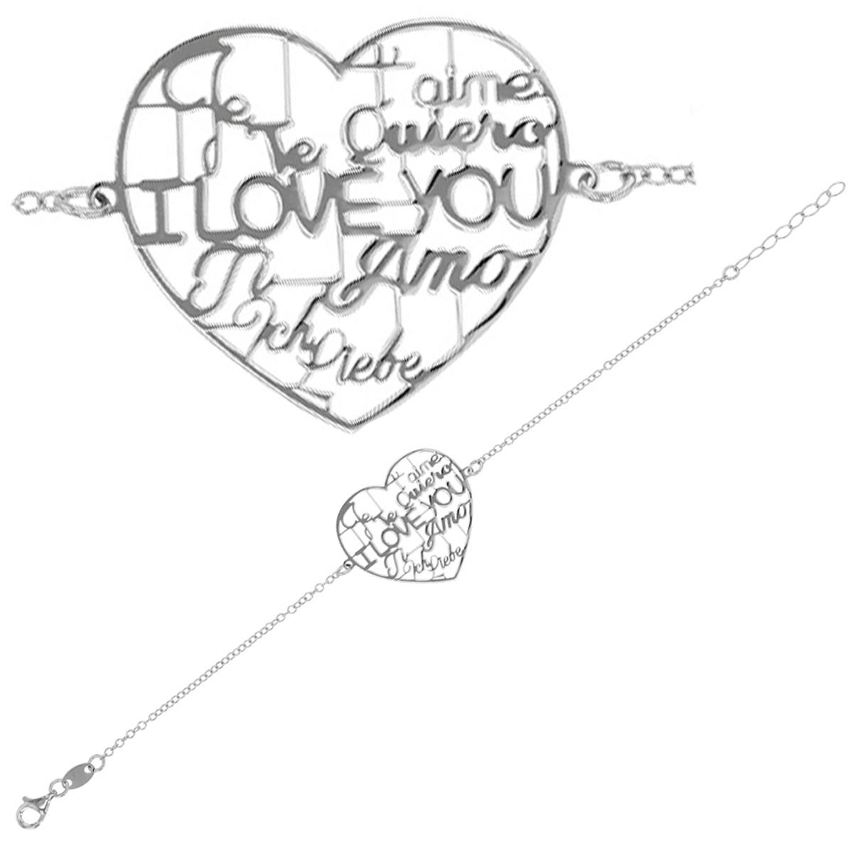Bracelet Argent artisanal \'Love\' argenté (rhodié) - 26x25 mm (I love you) - [Q9394]