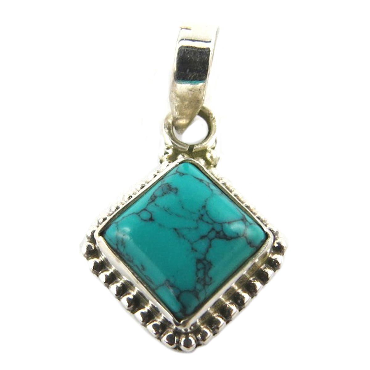 Pendentif Argent artisanal \'Heaven\' turquoise - 13x13 mm - [Q9863]
