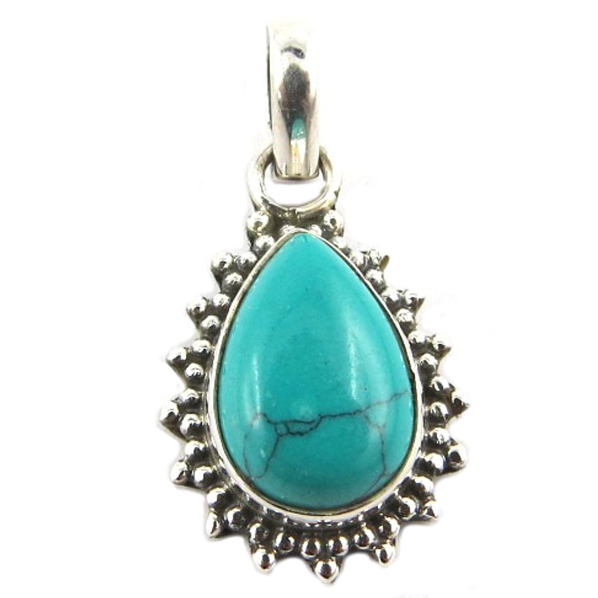 Pendentif Argent artisanal \'Heaven\' turquoise - 16x13 mm - [Q9865]