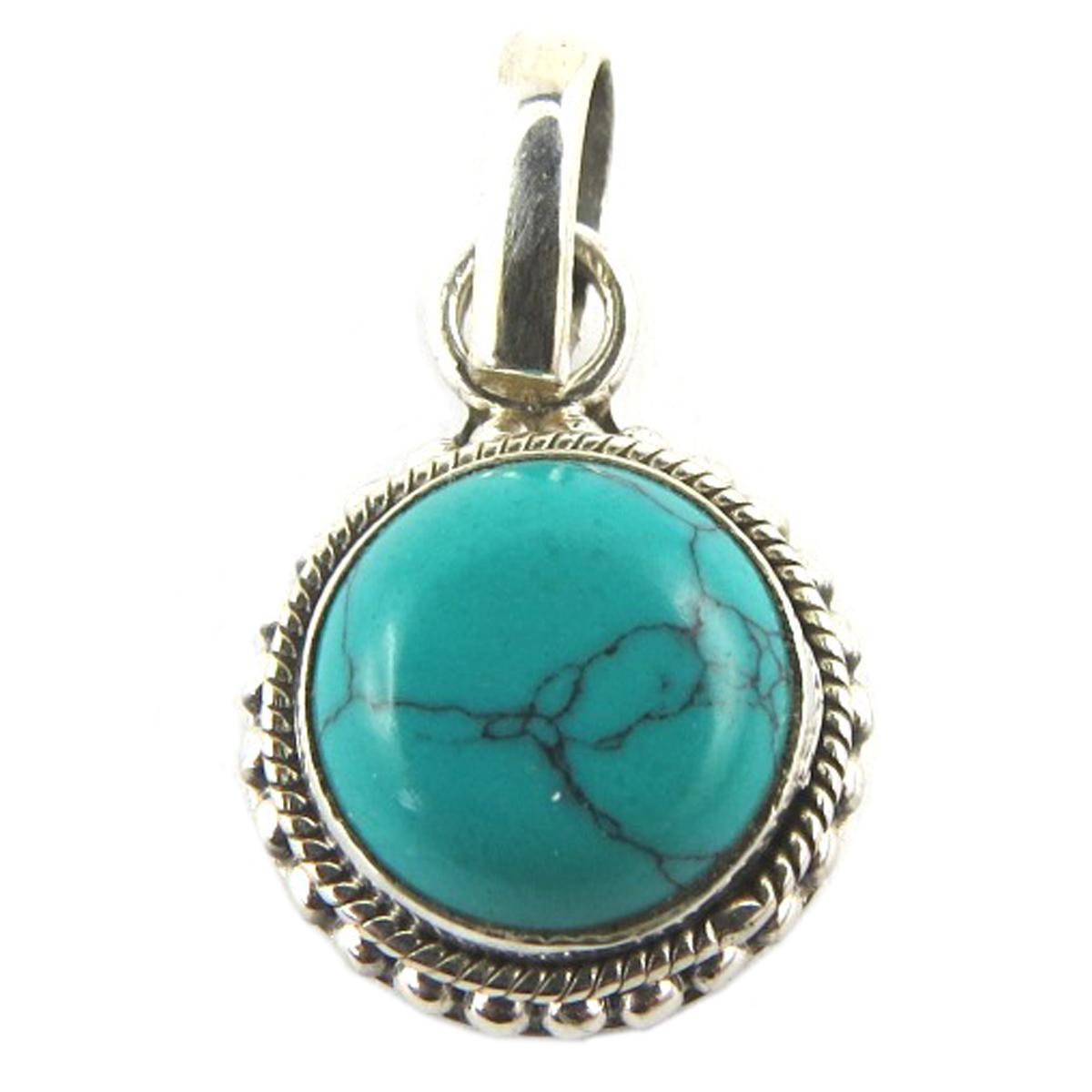 Pendentif Argent artisanal \'Heaven\' turquoise - 13 mm - [Q9866]