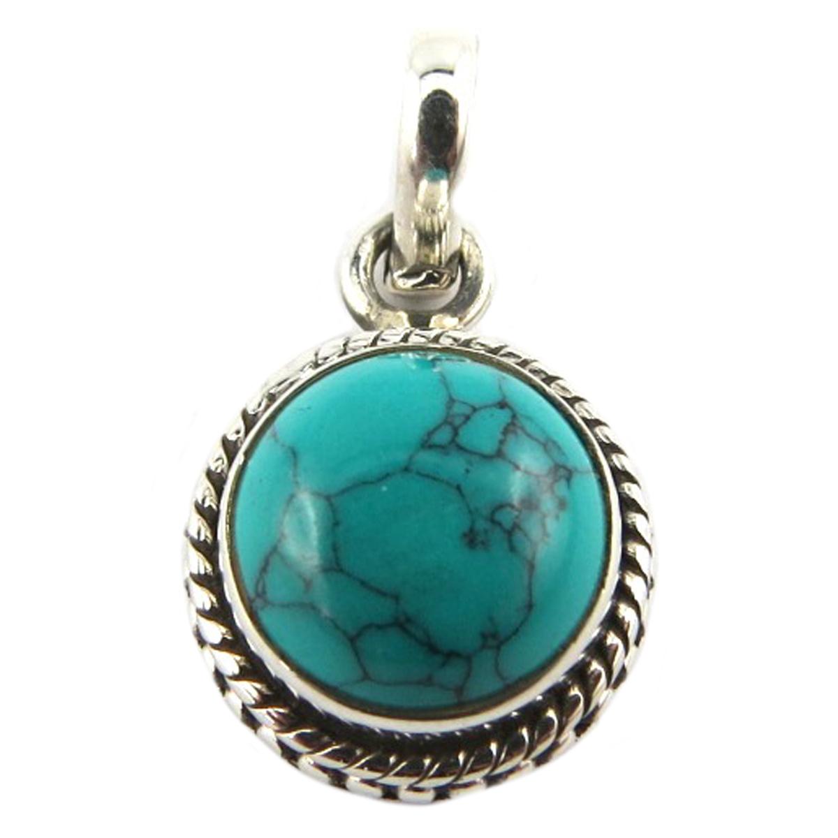 Pendentif Argent artisanal \'Heaven\' turquoise - 12 mm - [Q9867]