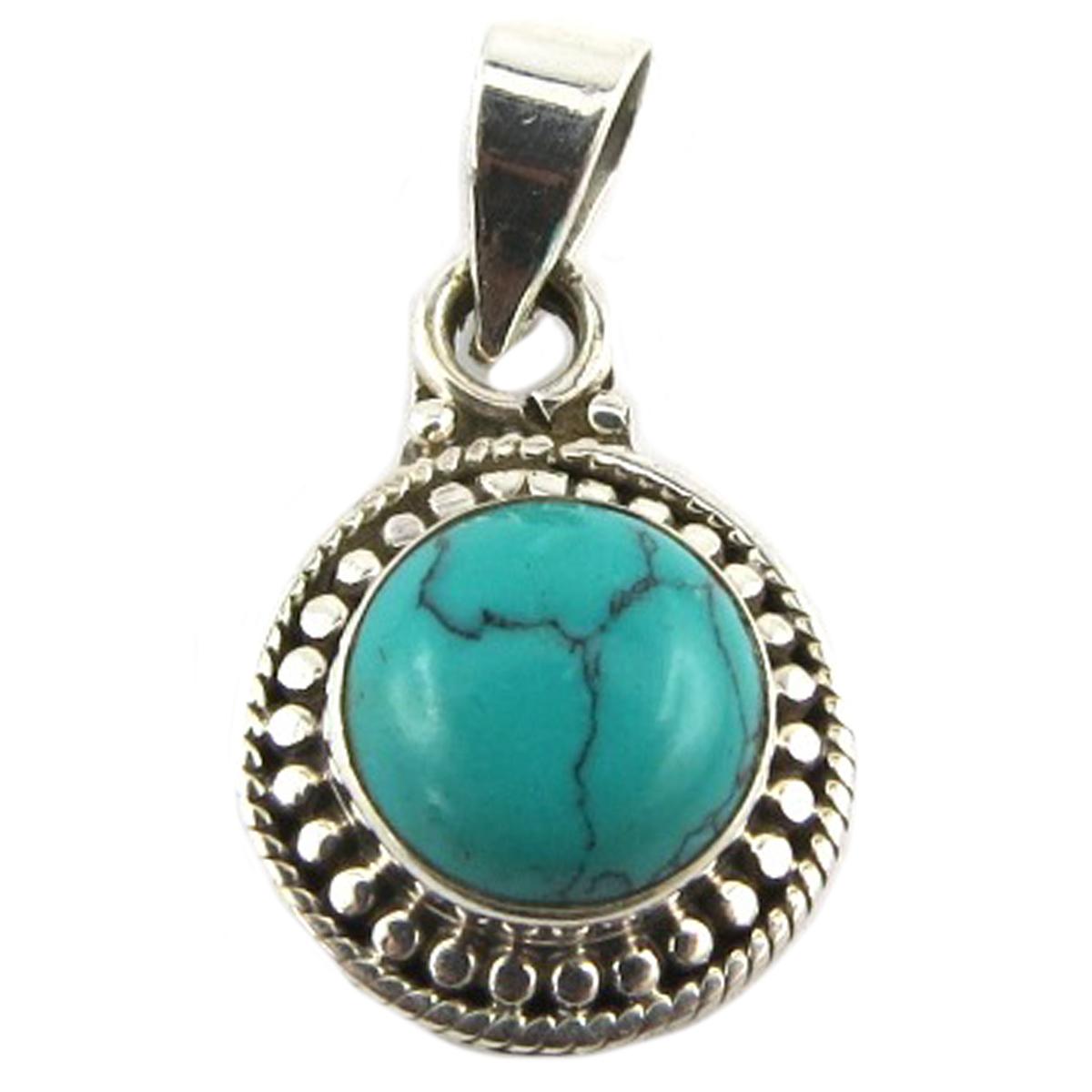 Pendentif Argent artisanal \'Heaven\' turquoise - 12 mm - [Q9868]