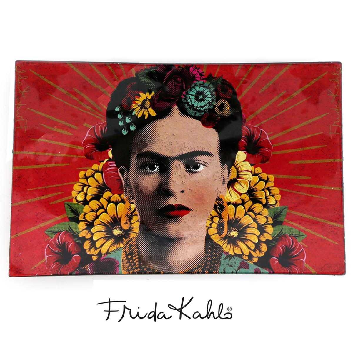 Coupelle vide poches verre \'Frida Kahlo\' rouge - 23x15x3 cm - [Q9974]