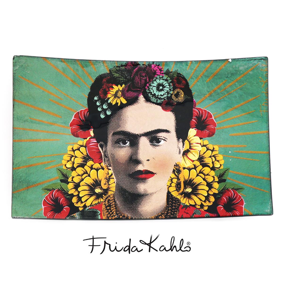 Coupelle vide poches verre \'Frida Kahlo\' vert - 23x15x3 cm - [Q9975]