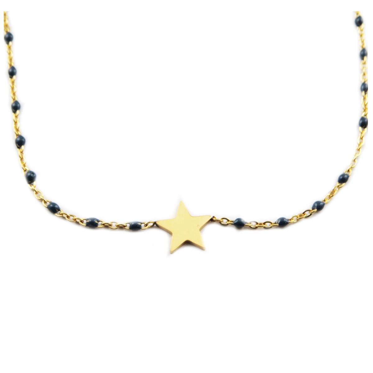 Collier créateur acier \'Une Etoile est Née\' bleu canard doré - 10x10 mm - [R0205]