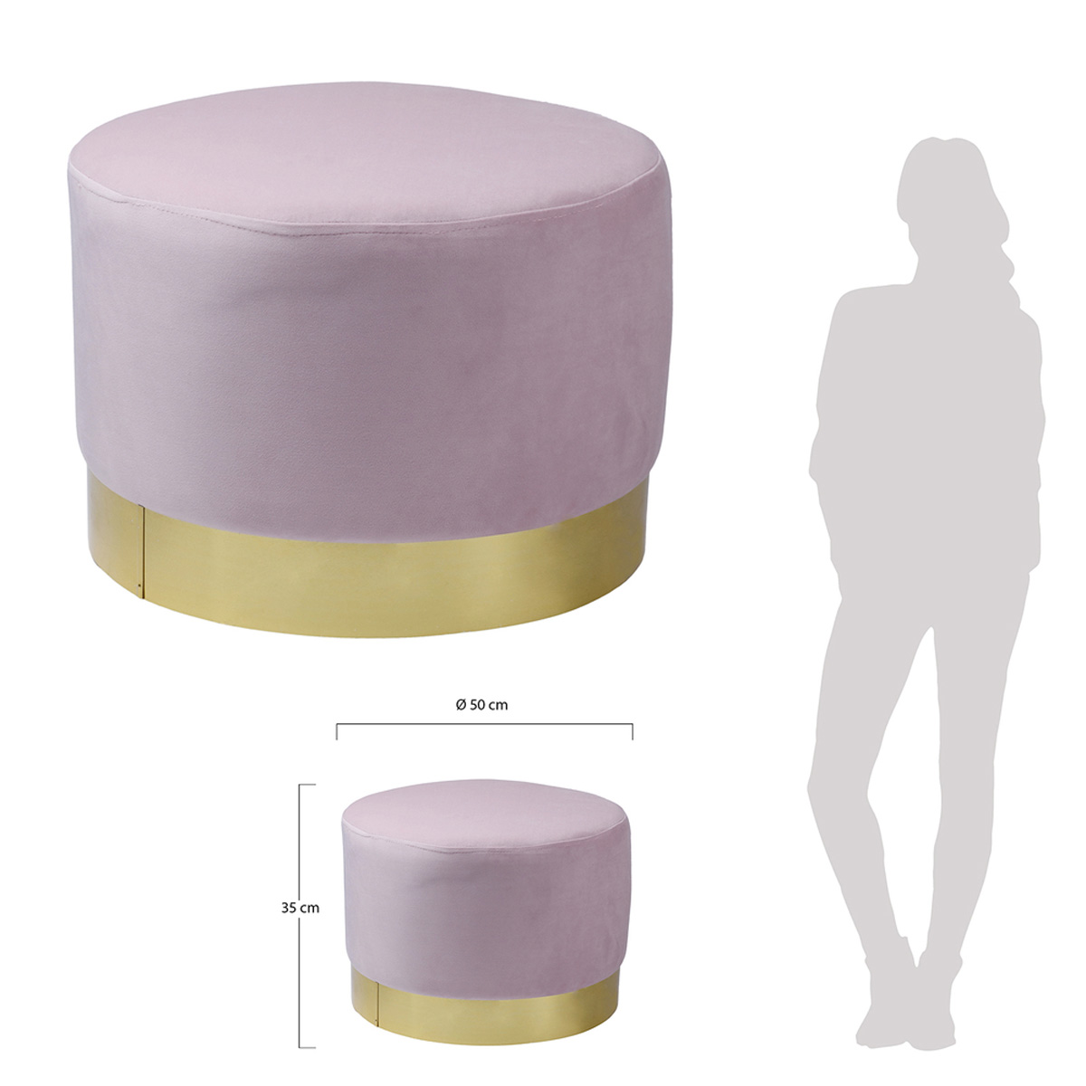 Pouf design velours \'Scarlett\' rose doré - 50x35 cm - [R0287]