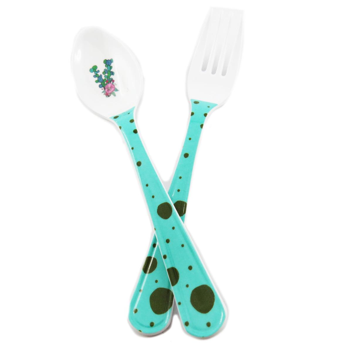 Couverts enfant mélamine \'Saperlipopette\' vert (cactus) - 16 cm - [R0334]