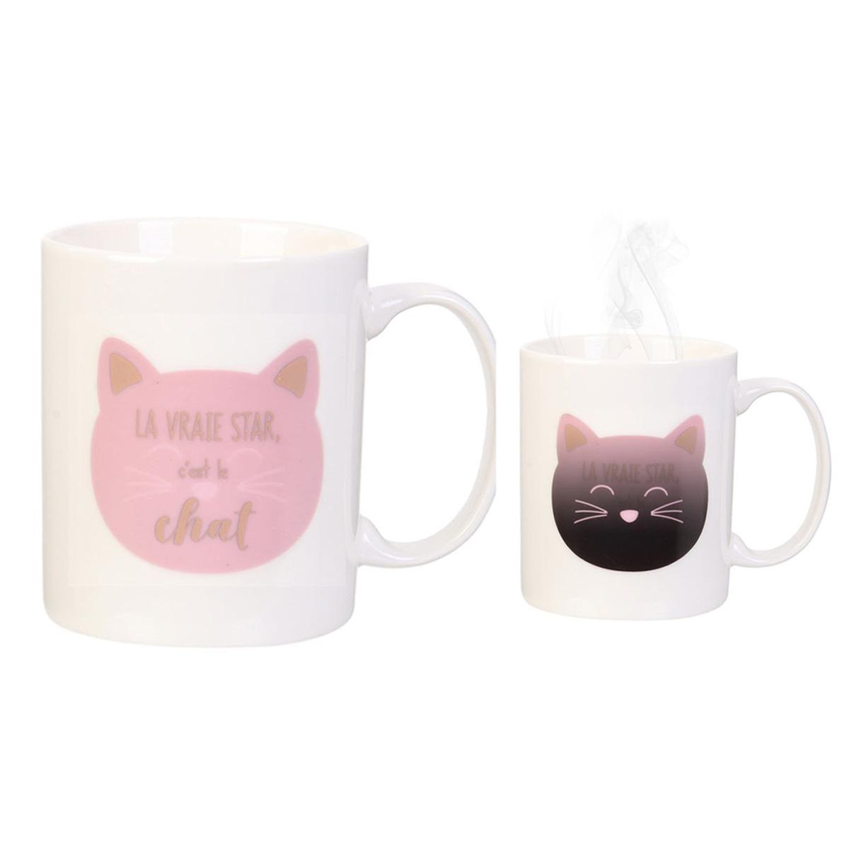Mug céramique thermique \'Chats\' rose (la vraie star, c\'est le Chat) - 35 cl - [R0342]