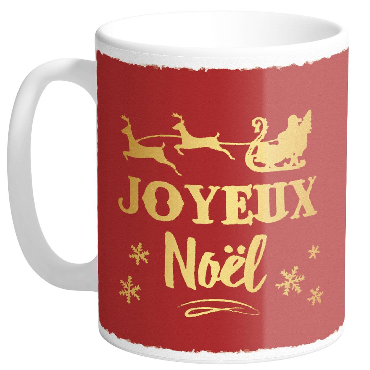 Mug céramique \'Joyeux Noël\' rouge (Made in France) - hauteur 95 cm diamètre 8 cm - [R0482]