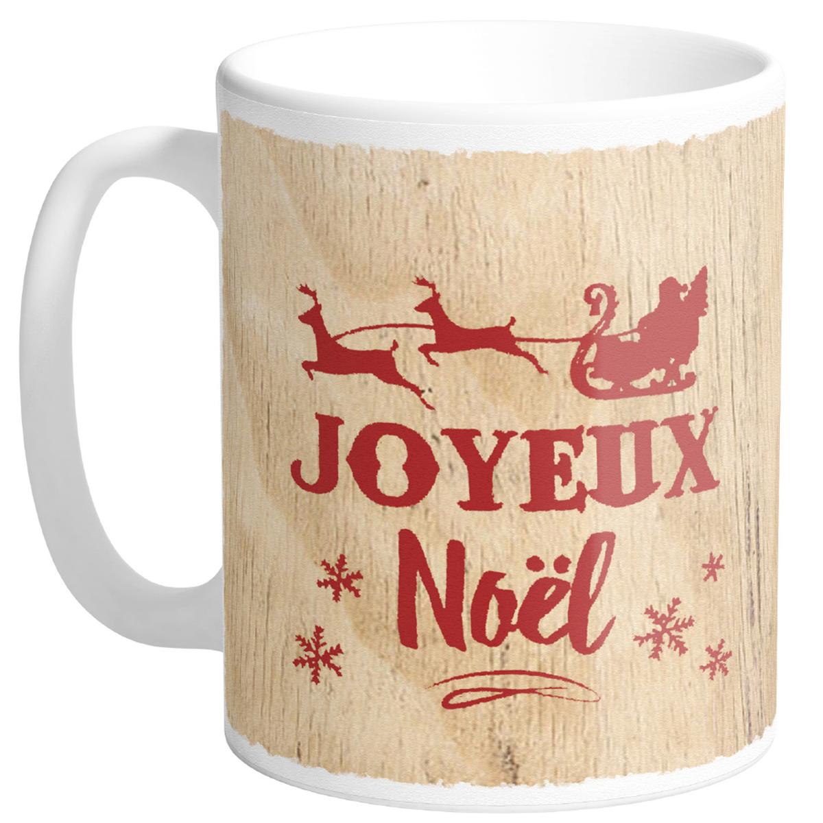 Mug céramique \'Joyeux Noël\' beige rouge (Made in France) - hauteur 95 cm diamètre 8 cm - [R0483]
