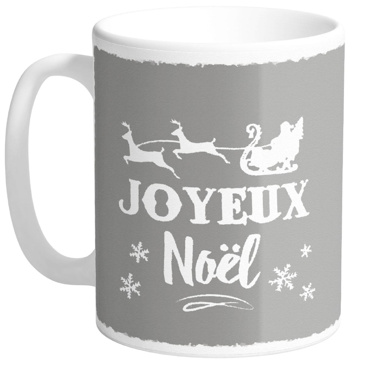 Mug céramique \'Joyeux Noël\' gris (Made in France) - hauteur 95 cm diamètre 8 cm - [R0484]