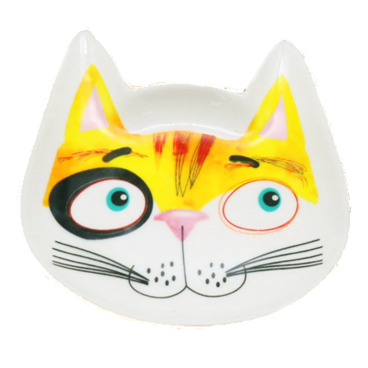Coupelle vide poches céramique \'Chats\' blanc multicolore - 12x10x2 cm - [R0489]