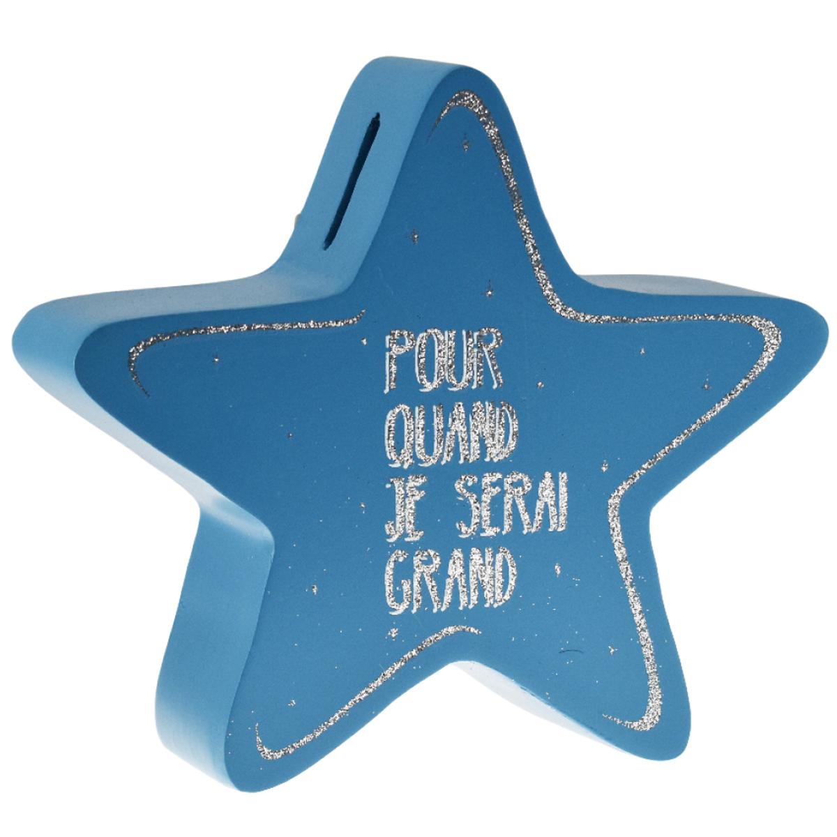 Tirelire bois \'Messages\' bleu (pour quand je serai grand) - 18x16x5 cm  (étoile) - [R0490]
