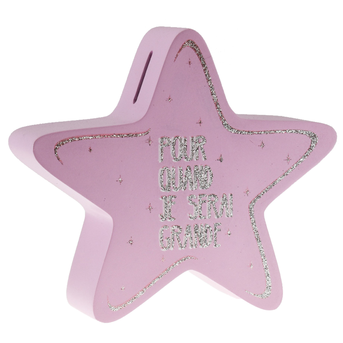 Tirelire bois \'Messages\' rose (pour quand je serai grande) - 18x16x5 cm  (étoile) - [R0491]
