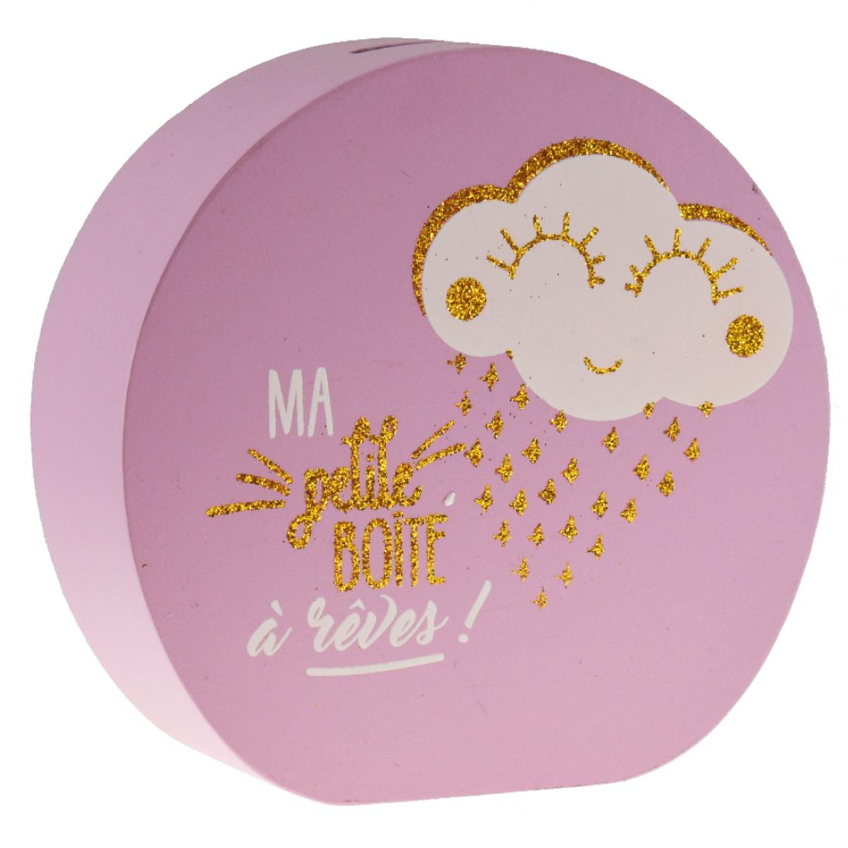 Tirelire bois \'Messages\' rose (ma petite boite à rêves !) - 15x145x5 cm  (nuage) - [R0494]