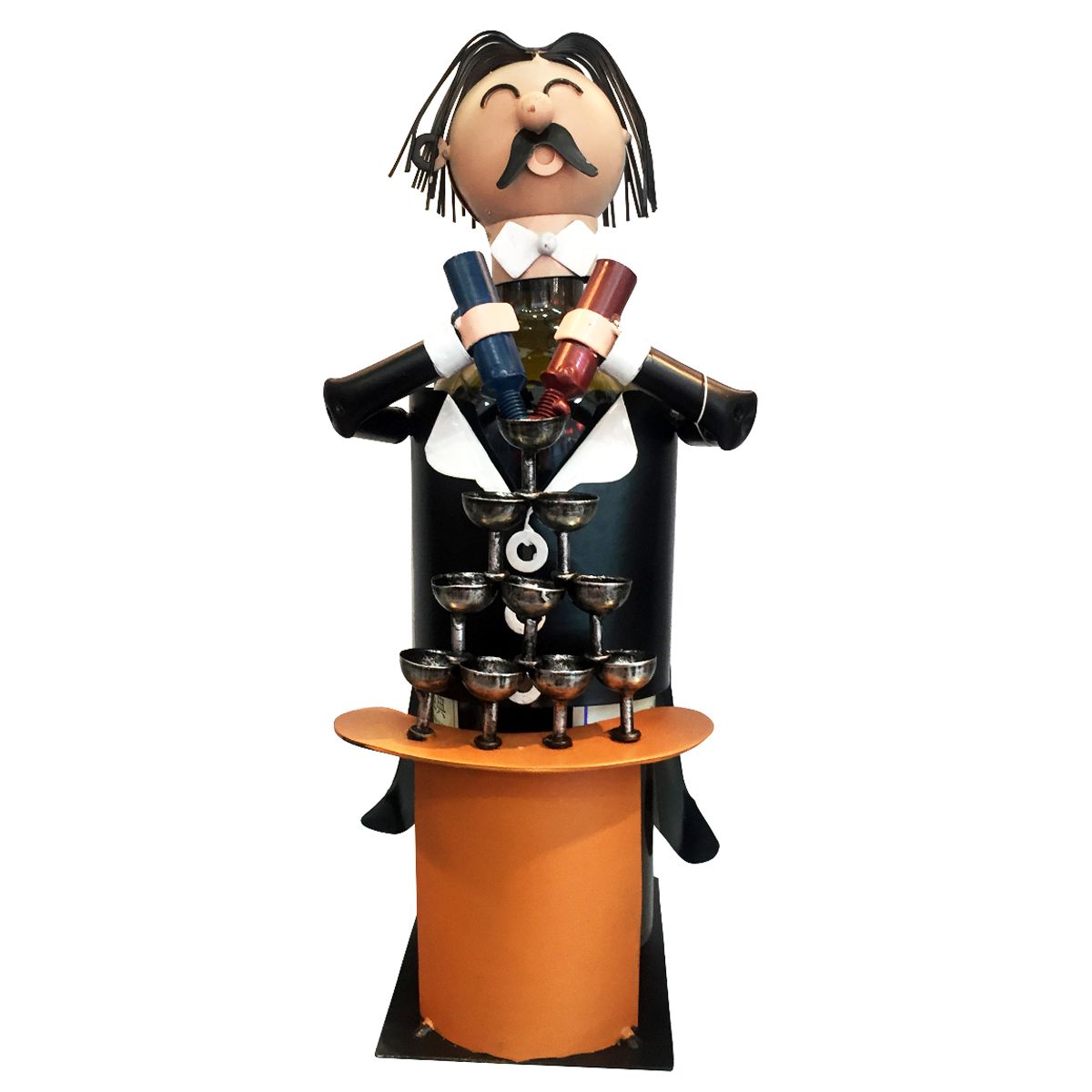 Porte-bouteille \'Sculpture métal\' orange noir (Barman) - 255x165 cm - [R0498]