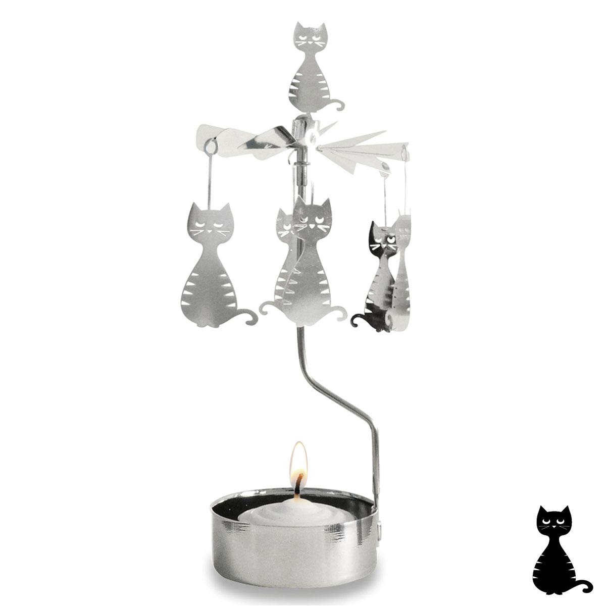 Bougeoir carrousel métal \'Chats\' argenté - 16x65 cm - [R0552]