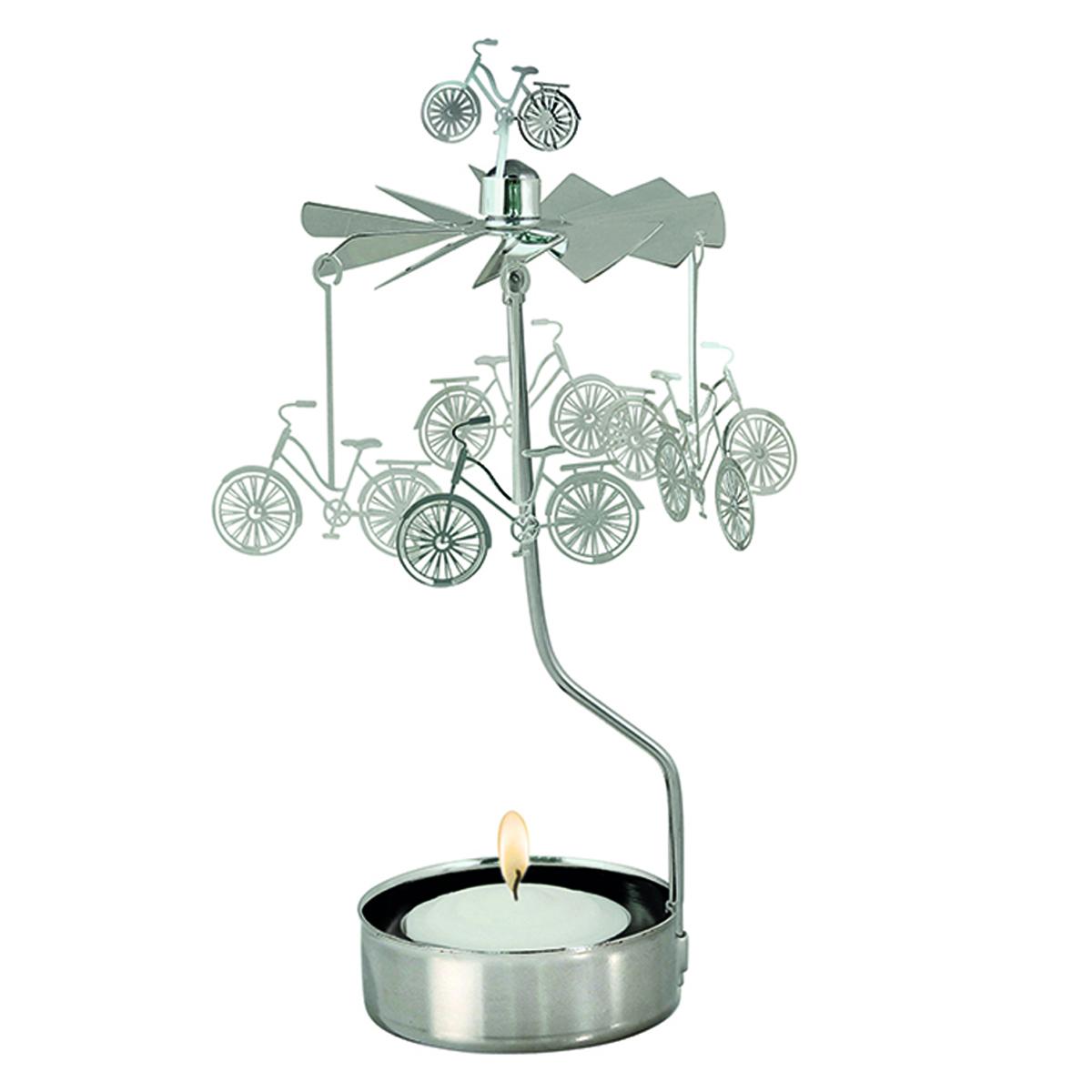 Bougeoir carrousel métal \'Vélos\' argenté - 16x65 cm - [R0553]
