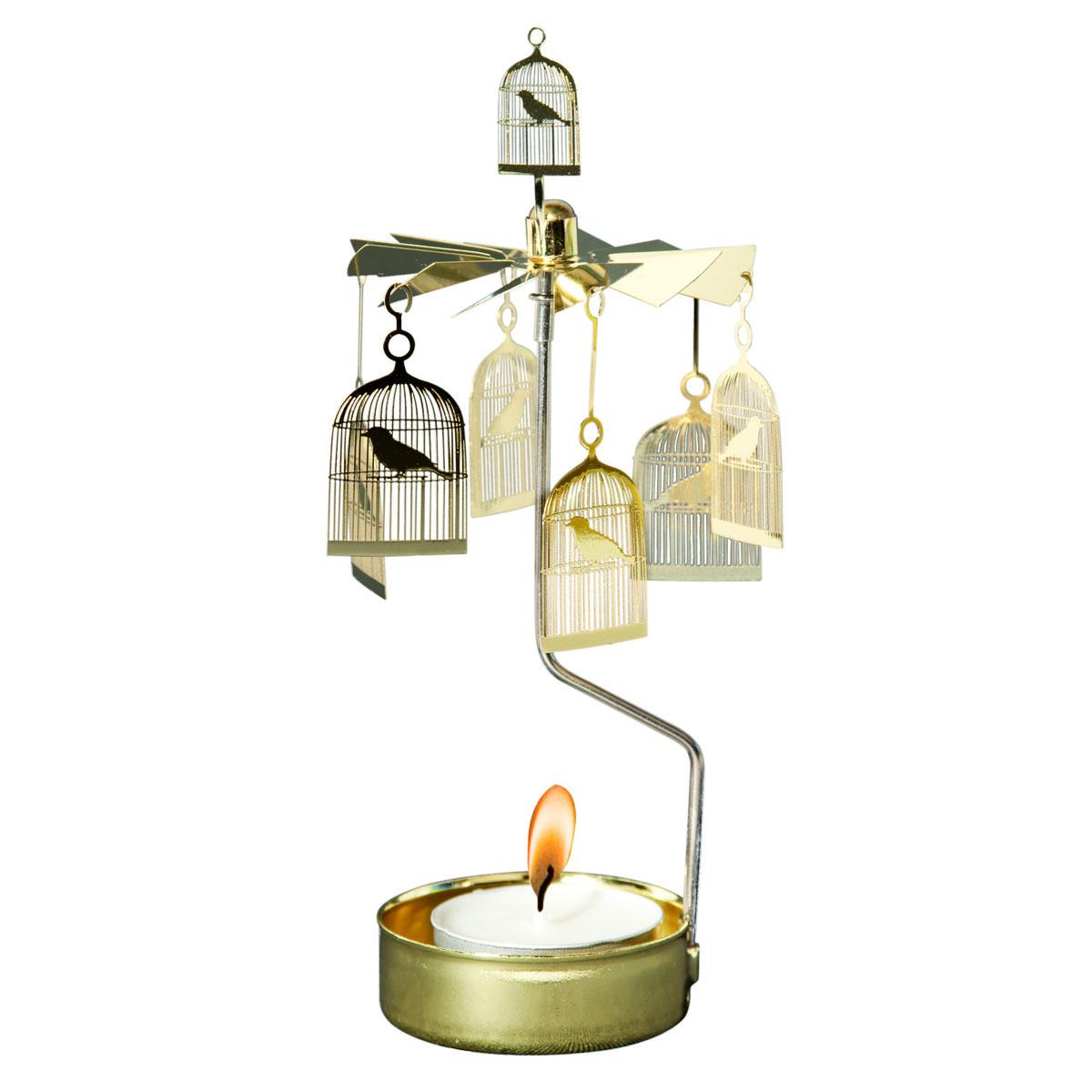 Bougeoir carrousel métal \'Cage à Oiseaux\' doré - 16x65 cm - [R0557]