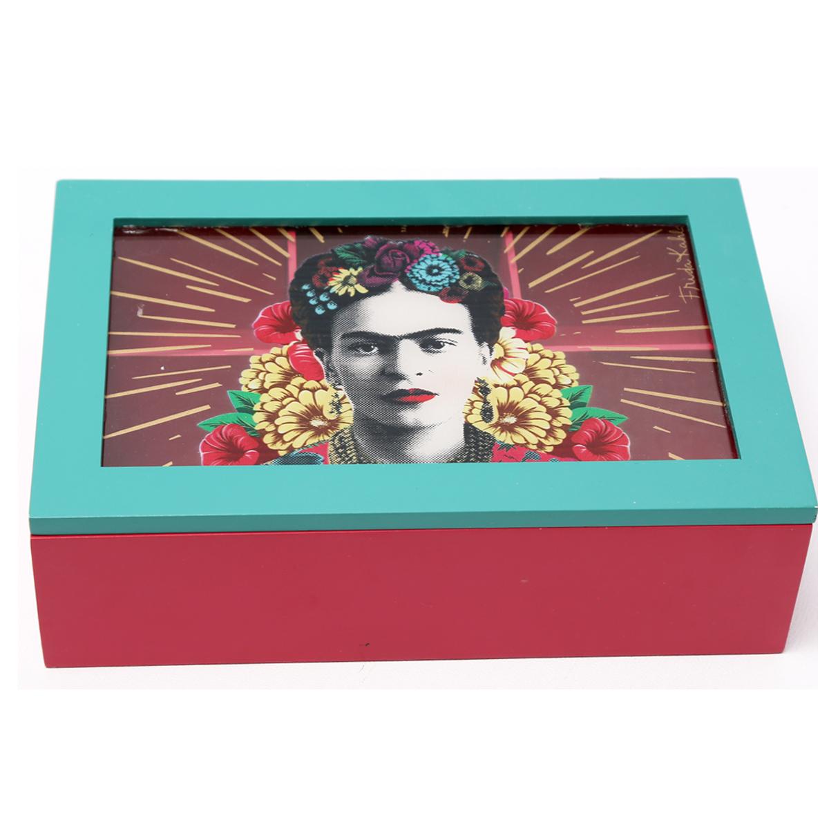 Boite à thé bois \'Frida Kahlo\' turquoise rose - 17x14x7 cm - [R0911]