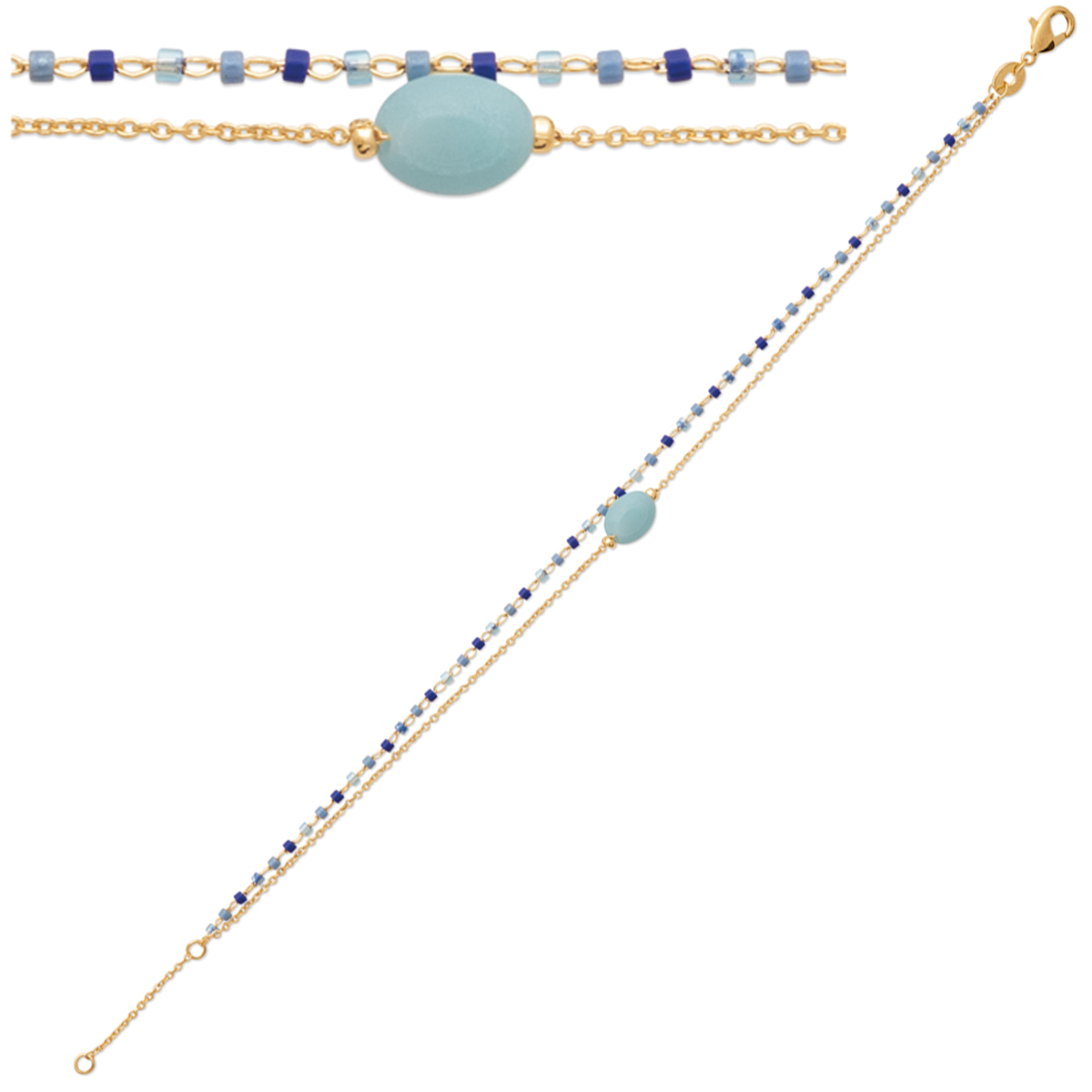 Bracelet Plaqué Or \'Boho\' amazonite doré (2 rangs) - 8x6 mm - [R1113]