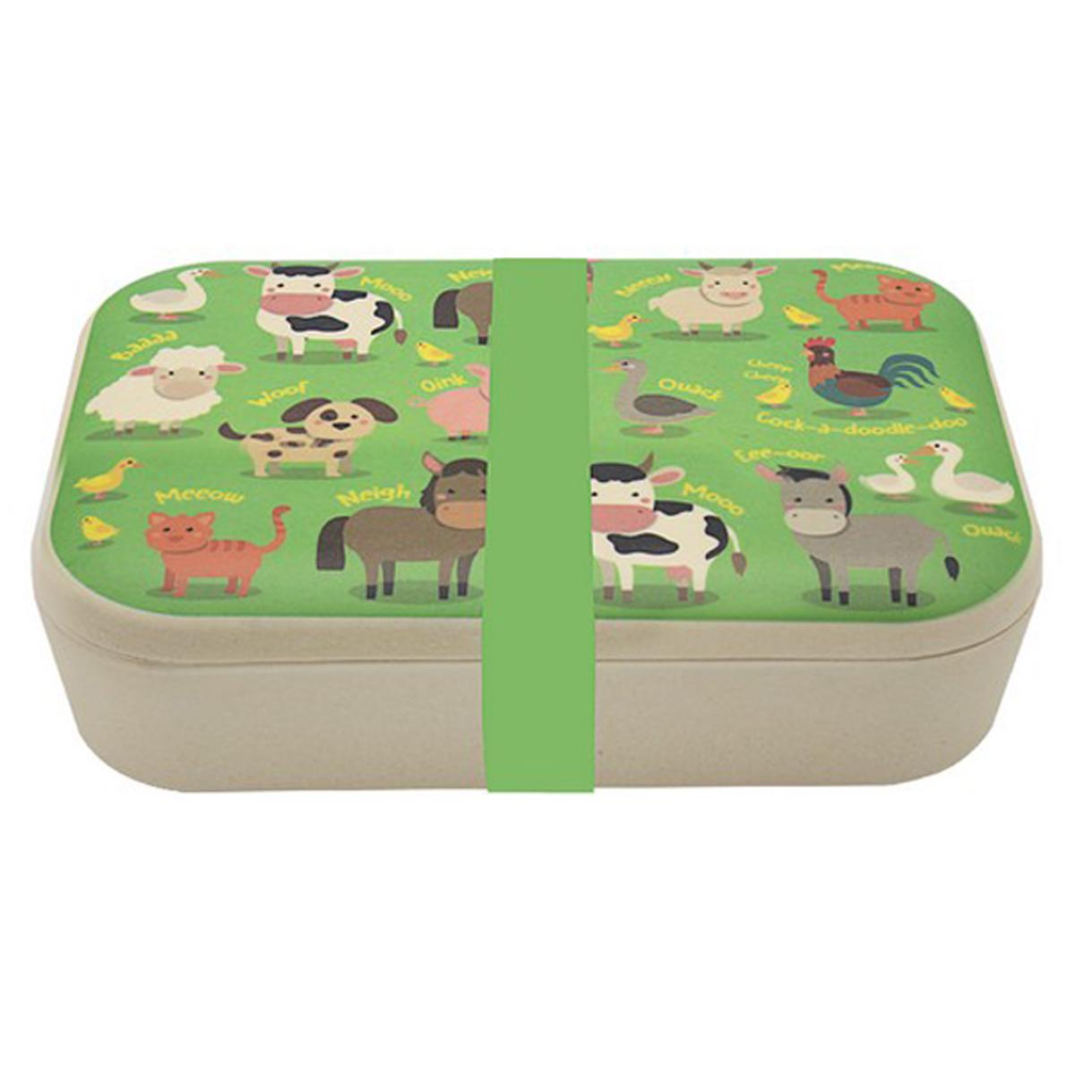 Lunch box bambou \'Les Animaux de la Ferme\' vert - 19x13x6 cm - [R1134]