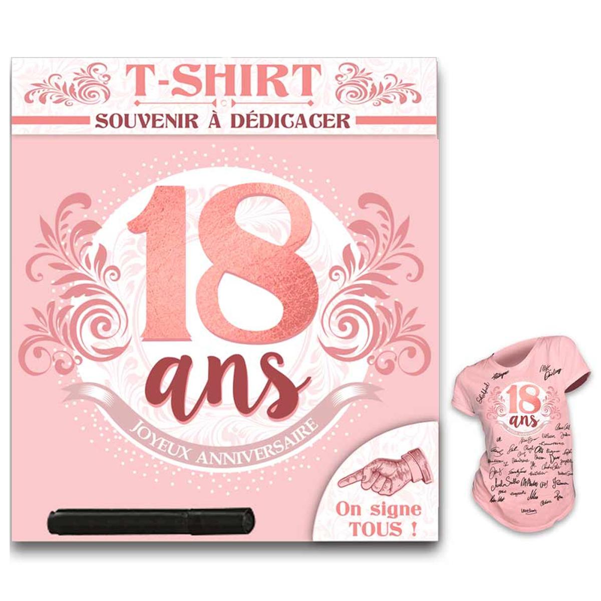 T-shirt \'18 ans\' rose blanc - (dédicace) - [R1420]