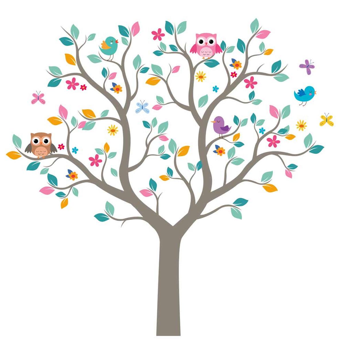 Planche de stickers \'Arbre de Vie Chouettes\' multicolore - 50x70 cm - [R1829]