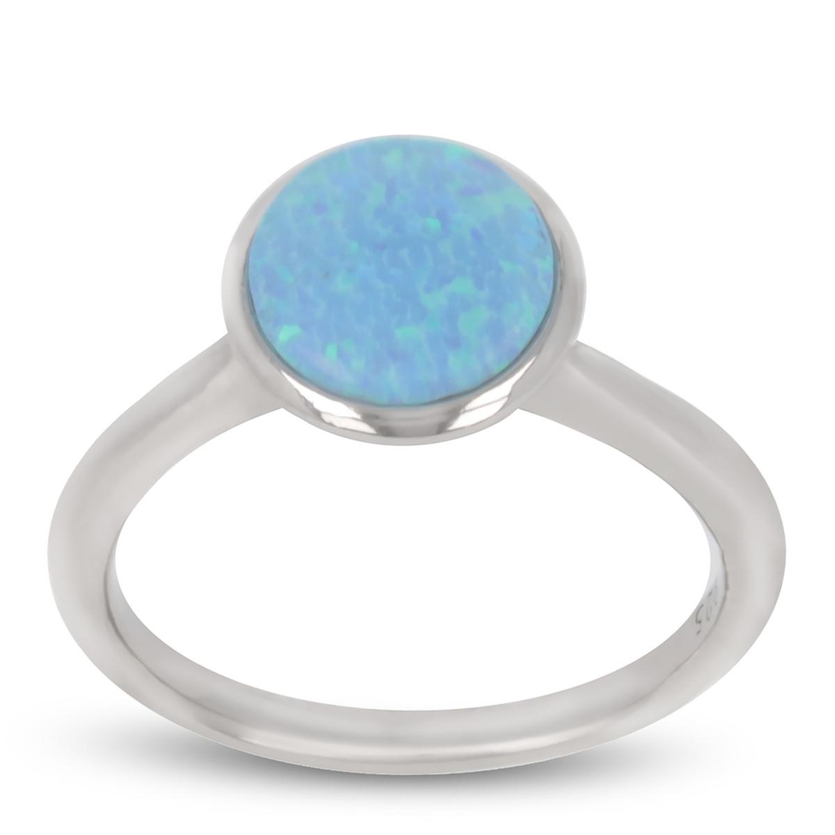 Bague Argent \'Déesse Opale\' bleu argenté (rhodié) - 9 mm - [R1943]