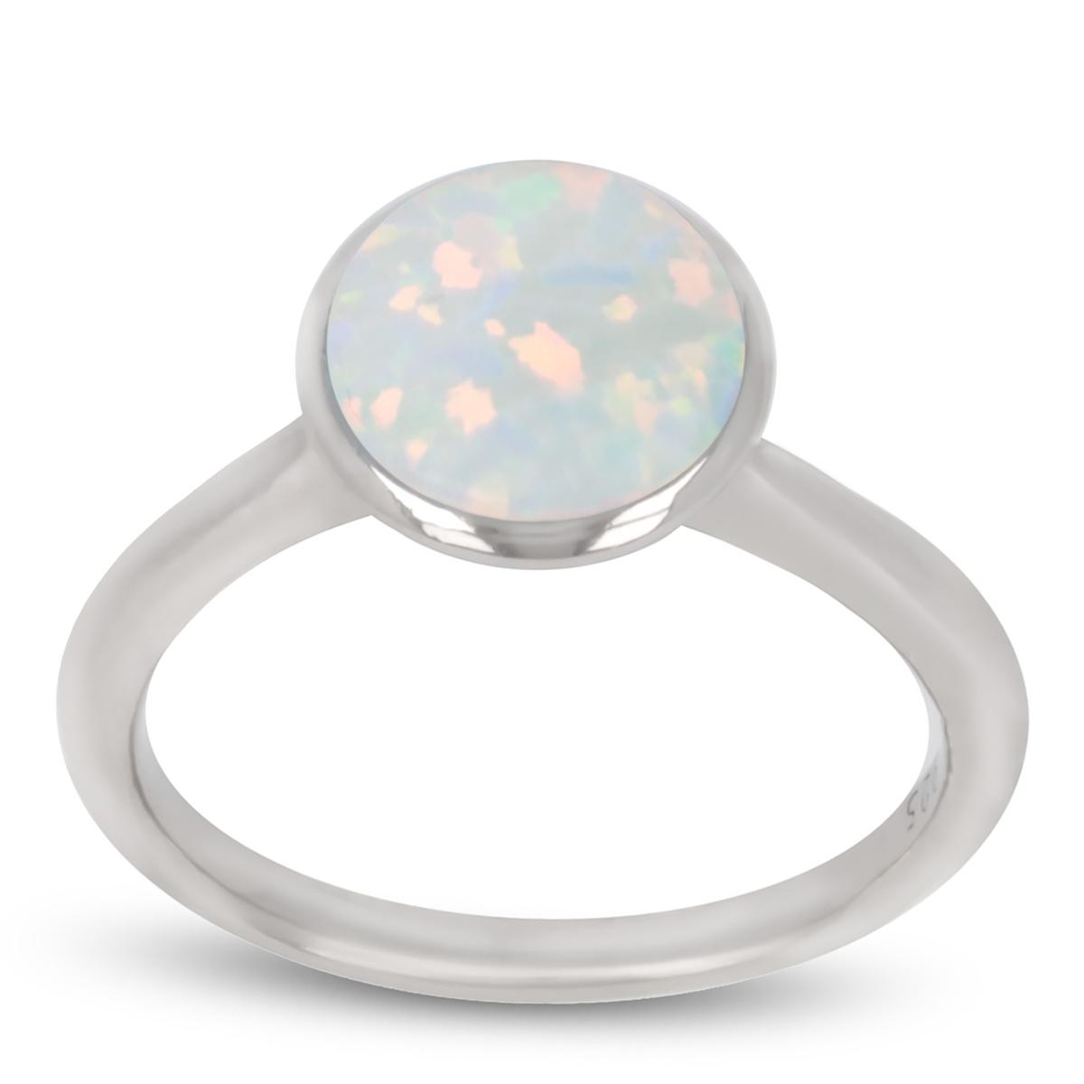 Bague Argent \'Déesse Opale\' blanc argenté (rhodié) - 9 mm - [R1944]