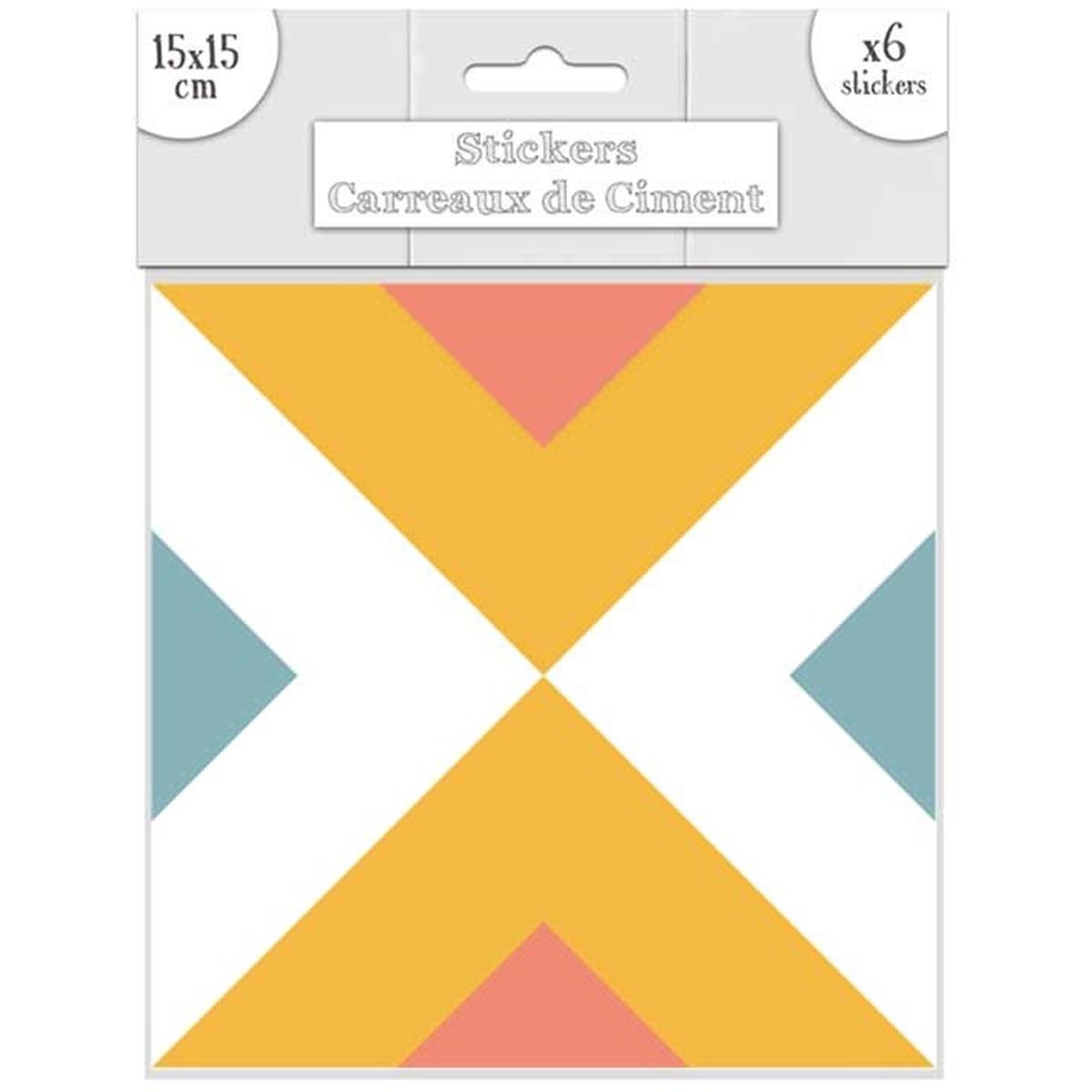 Set de 6 stickers \'Carreaux de Ciment\' bleu orange - 15x15 cm - [R2203]