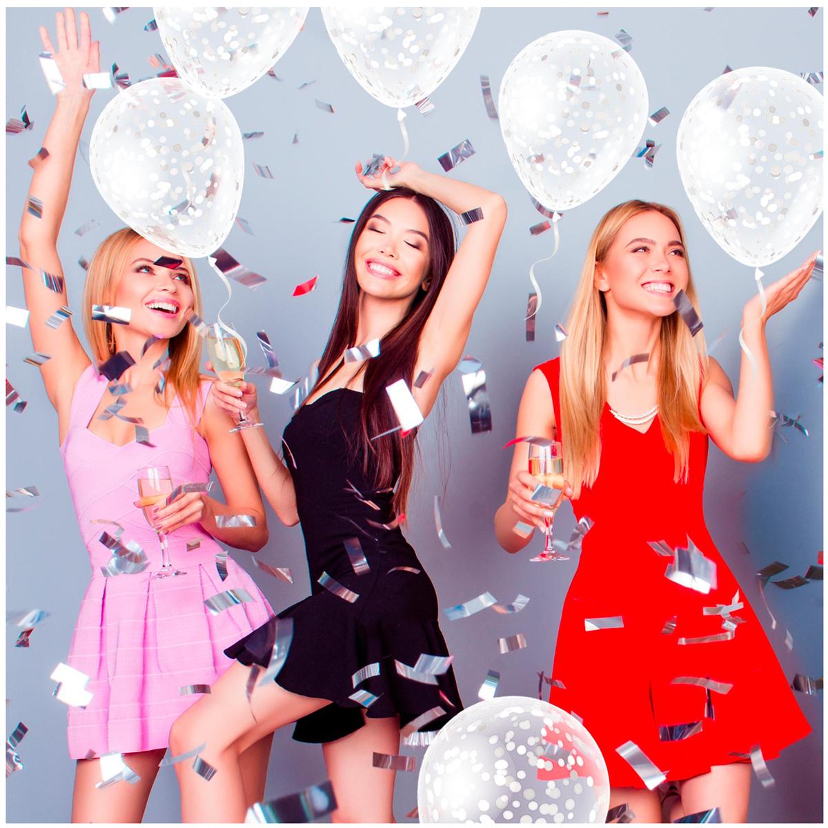 6 ballons latex \'Confettis\' blanc - 30 cm - [R2285]