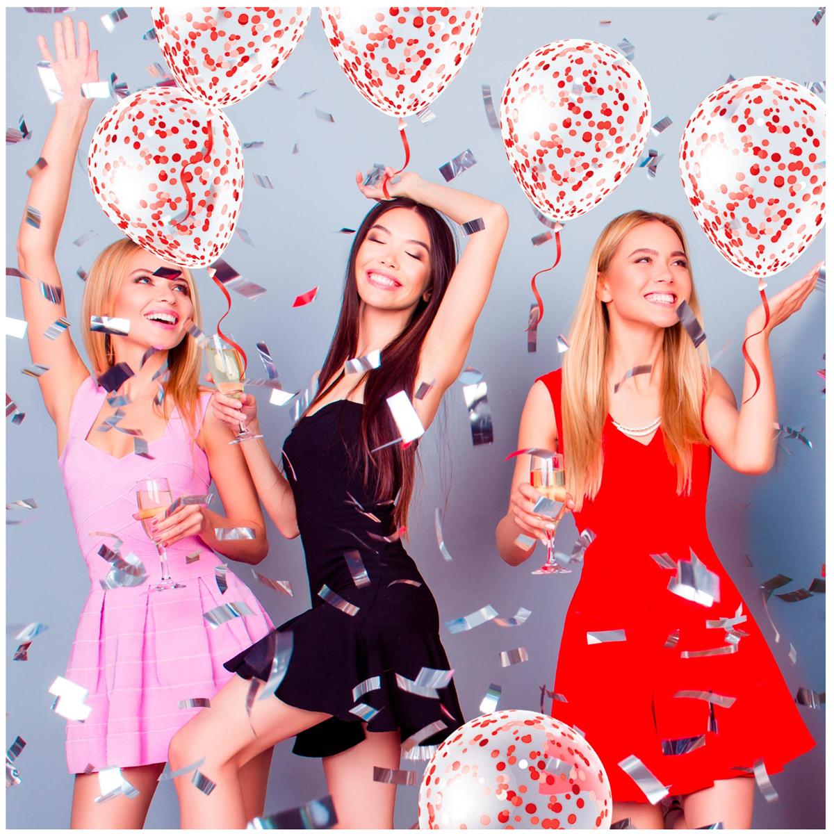 6 ballons latex \'Confettis\' rouge - 30 cm - [R2290]