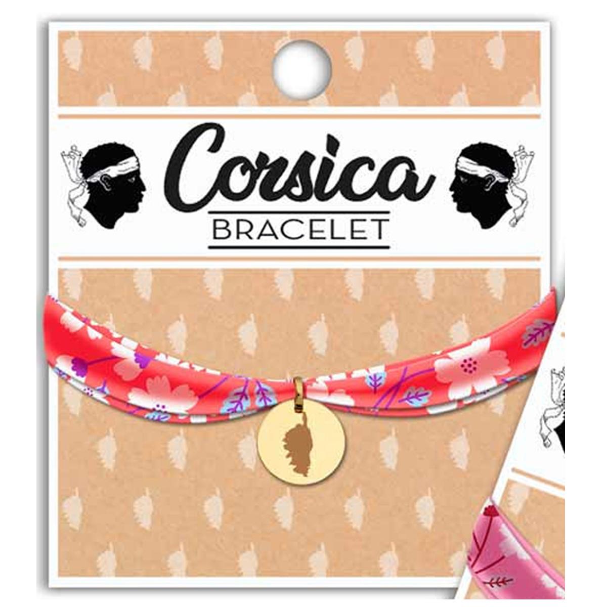 Bracelet \'Corsica\' orange liberty doré (carte corse) - 16 mm - [R2312]
