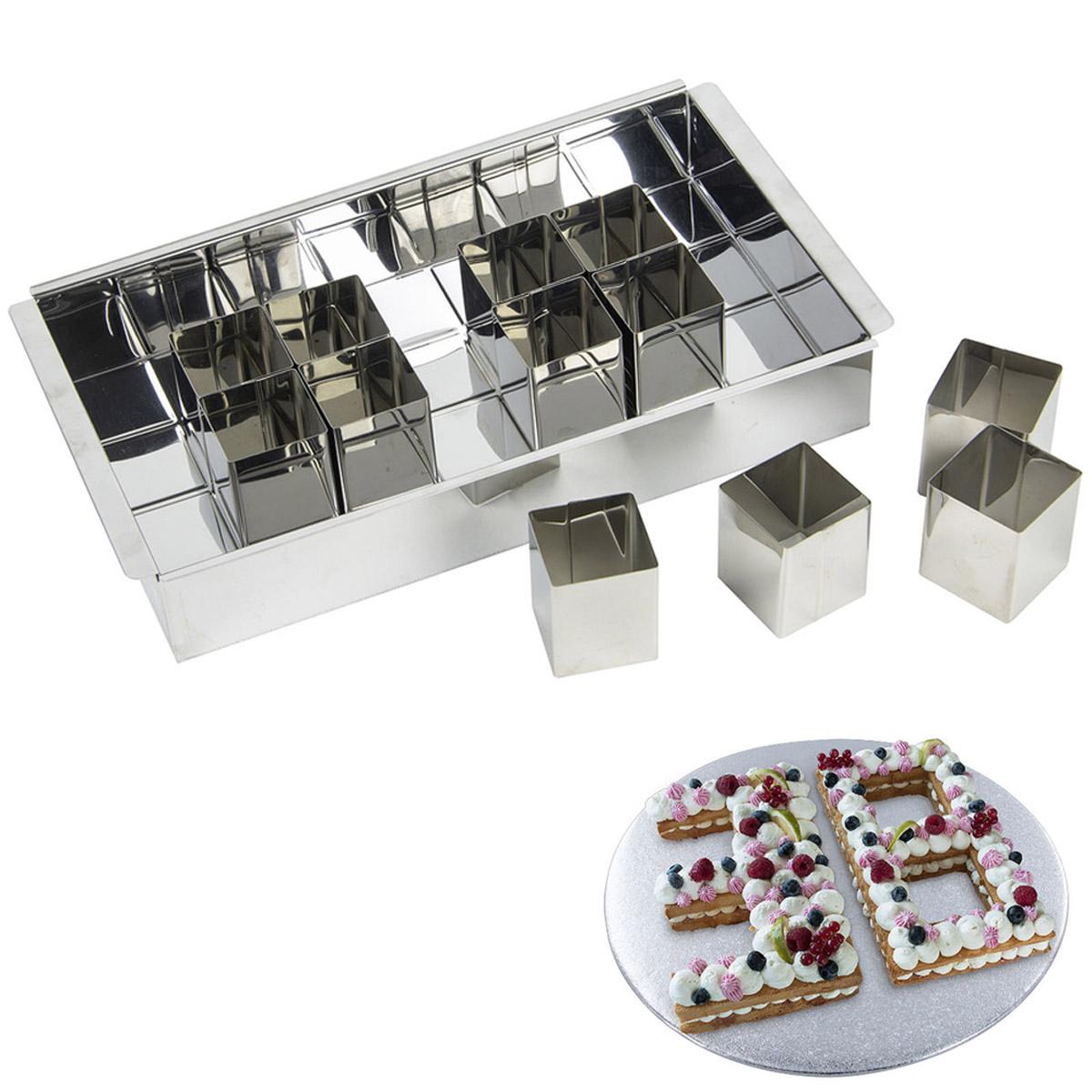 Moule inox \'Number Cake\' - 31x18x5 cm (12 cubes) - [R2457]