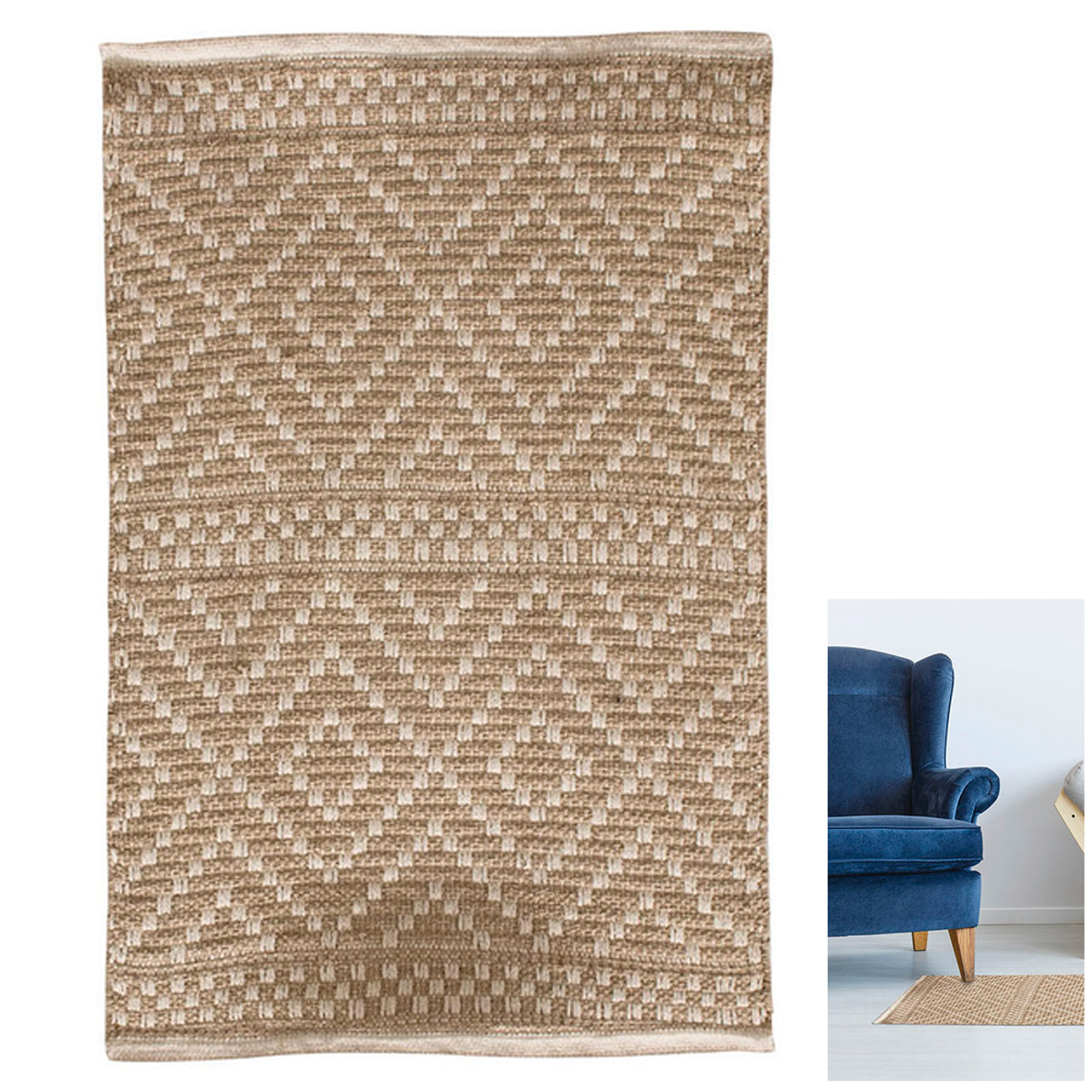 Tapis coton \'Boho\' beige - 80x60 cm - [R2488]