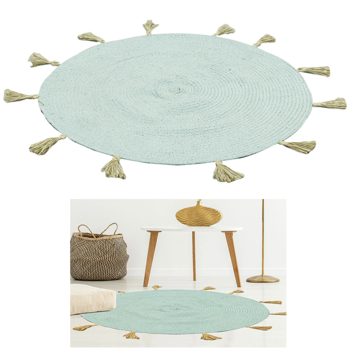 Tapis coton \'Boho\' turquoise - 90 cm - [R2495]