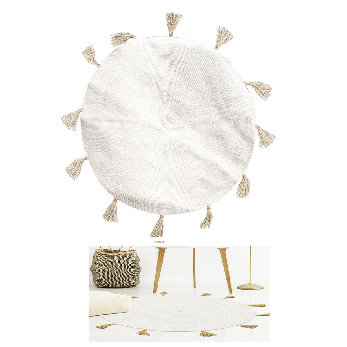 Tapis coton \'Boho\' beige - 90 cm - [R2496]