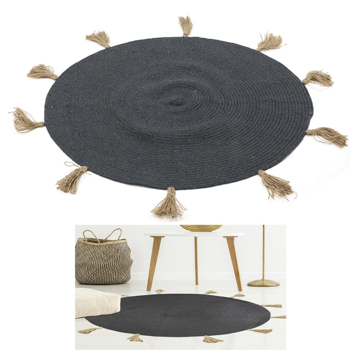Tapis coton \'Boho\' gris - 90 cm - [R2497]