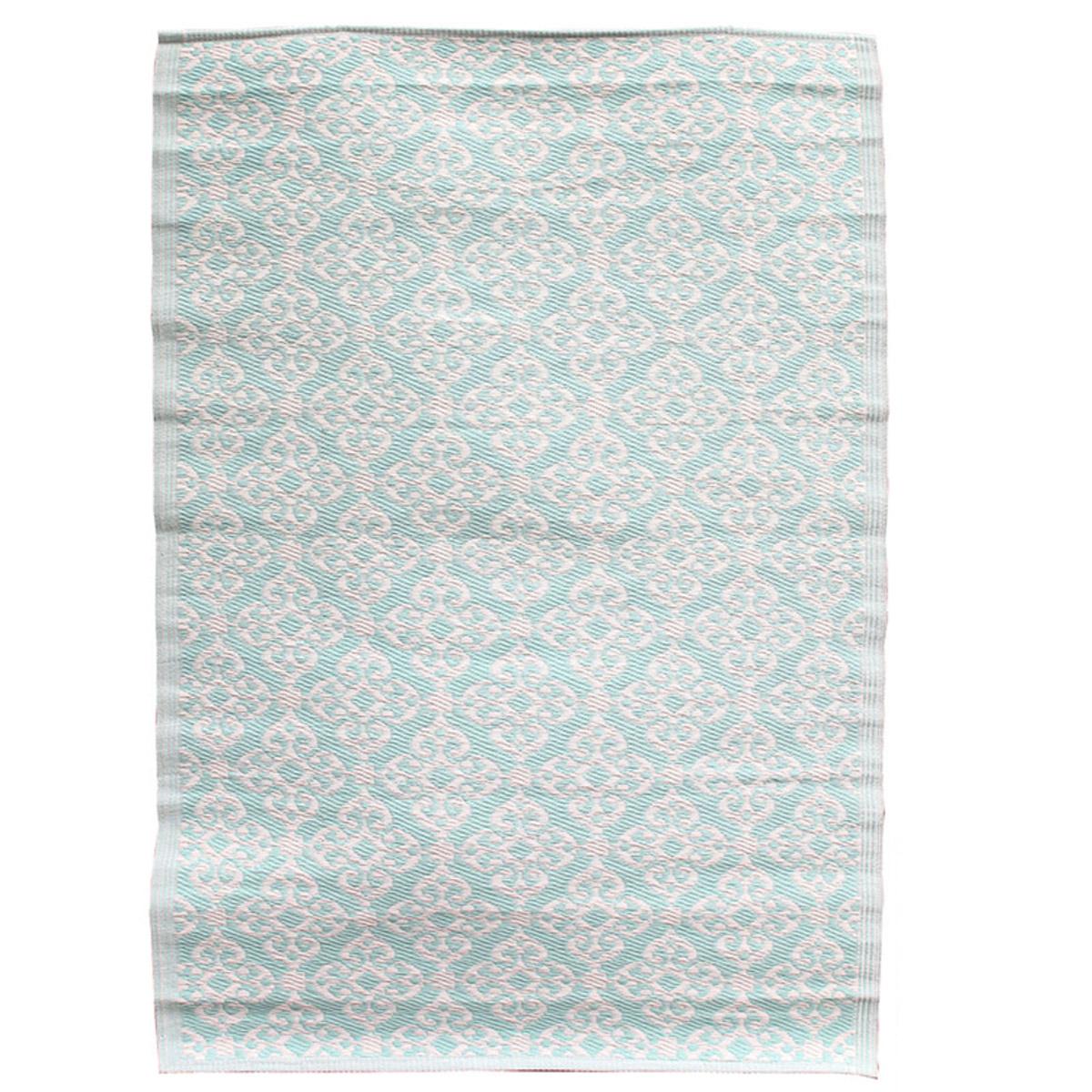 Tapis indoor outdoor \'Boho\' turquoise - 180x120 cm - [R2504]
